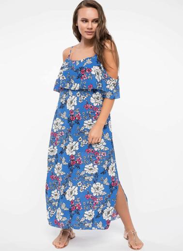 DeFacto Volan Kat Detaylı Çiçek Baskılı Askılı Elbise Mavi